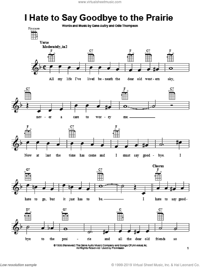 I Hate To Say Goodbye To The Prairie sheet music for ukulele by Odie Thompson and Gene Autry. Score Image Preview.