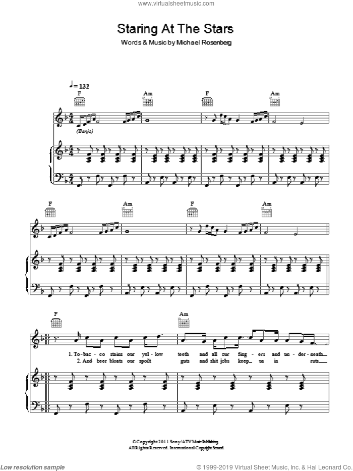 Staring At The Stars sheet music for voice, piano or guitar by Passenger and Michael Rosenberg, intermediate skill level
