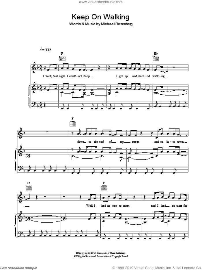 Keep On Walking sheet music for voice, piano or guitar by Passenger and Michael Rosenberg, intermediate