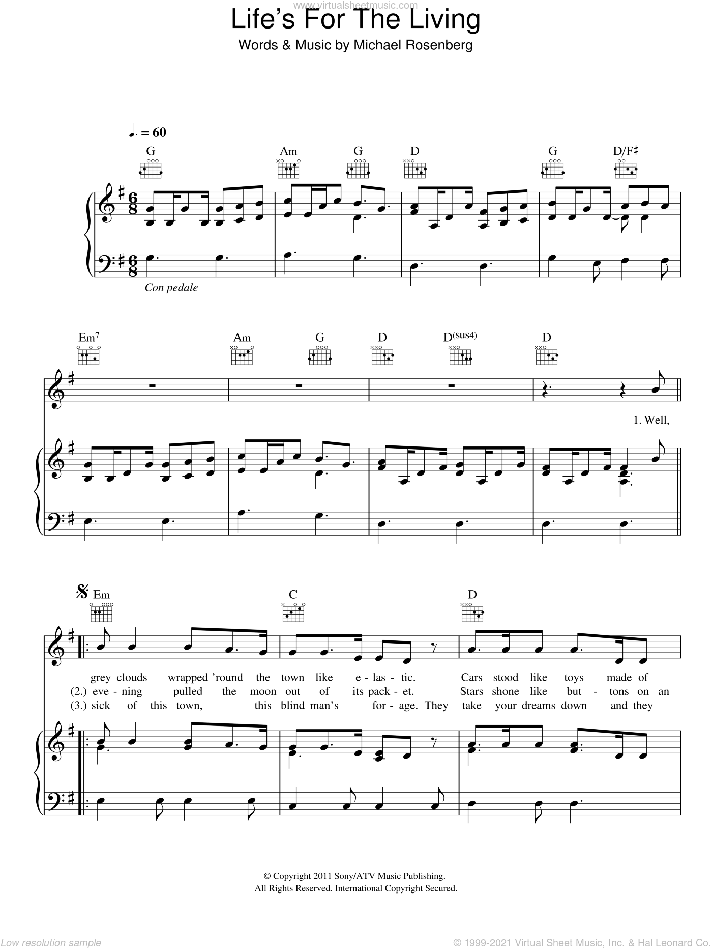 Life's For The Living sheet music for voice, piano or guitar by Passenger and Michael Rosenberg, intermediate skill level