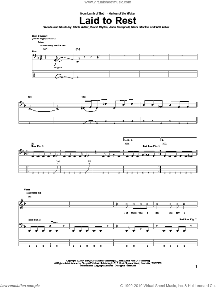 Laid To Rest sheet music for bass (tablature) (bass guitar) by Lamb Of God. Score Image Preview.
