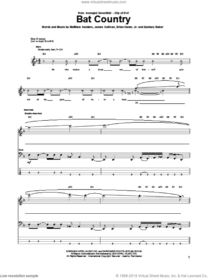 Bat Country sheet music for bass (tablature) (bass guitar) by Avenged Sevenfold. Score Image Preview.