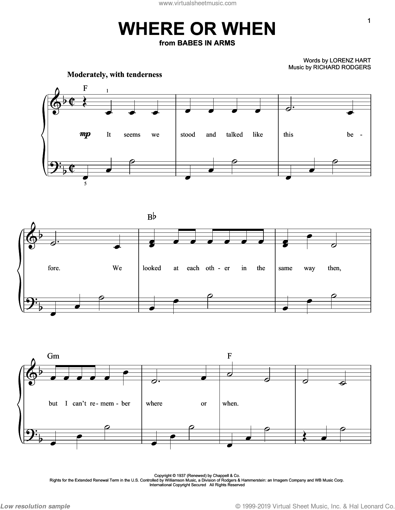 Where Or When sheet music for piano solo by Rodgers & Hart, Lorenz Hart and Richard Rodgers, easy skill level