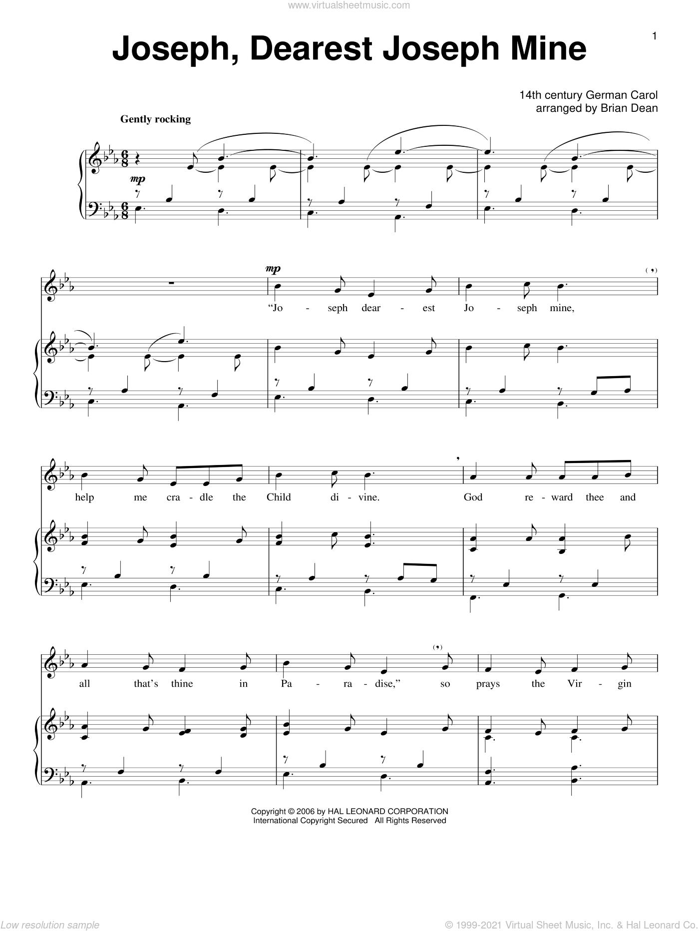 Joseph Dearest, Joseph Mine sheet music for voice and piano, classical score, intermediate skill level