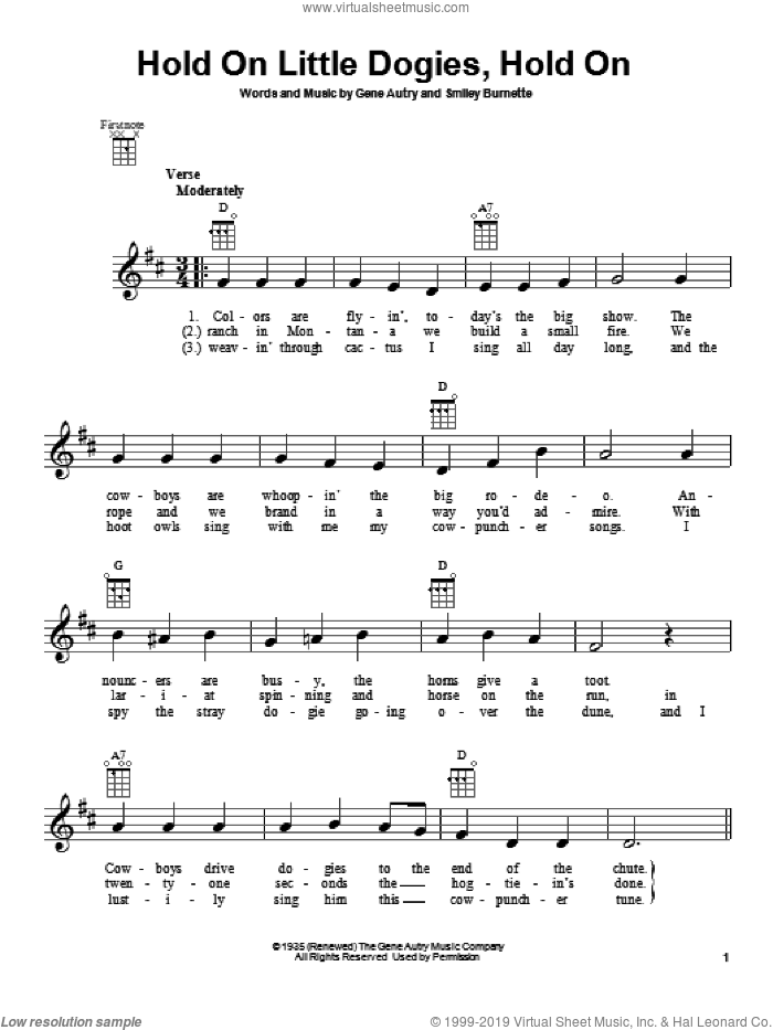 Hold On Little Dogies, Hold On sheet music for ukulele by Gene Autry, intermediate ukulele. Score Image Preview.