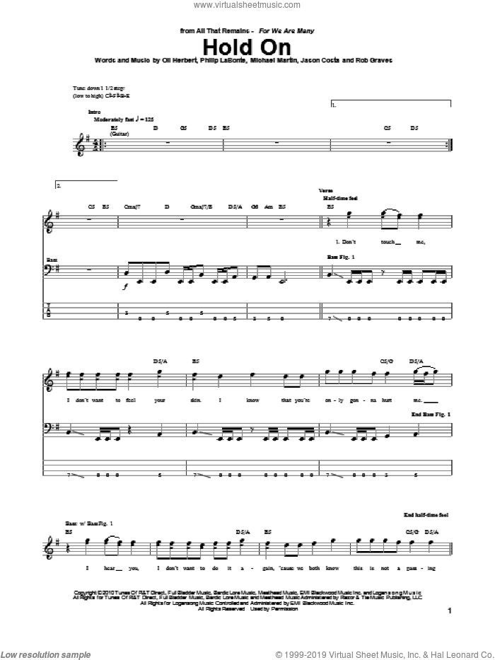 Hold On sheet music for bass (tablature) (bass guitar) by All That Remains, intermediate
