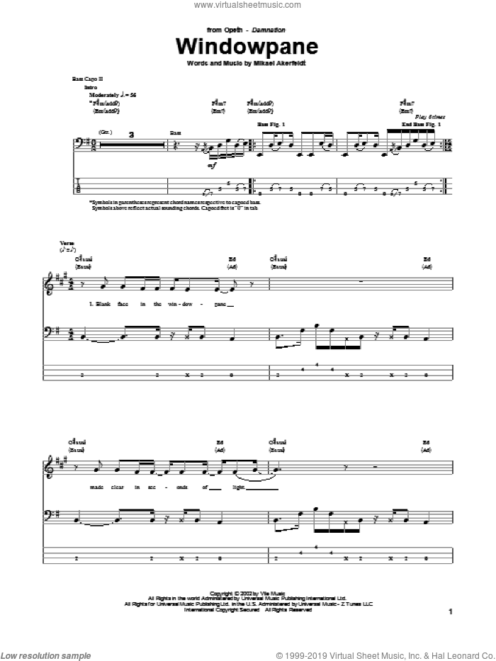 Windowpane sheet music for bass (tablature) (bass guitar) by Opeth. Score Image Preview.