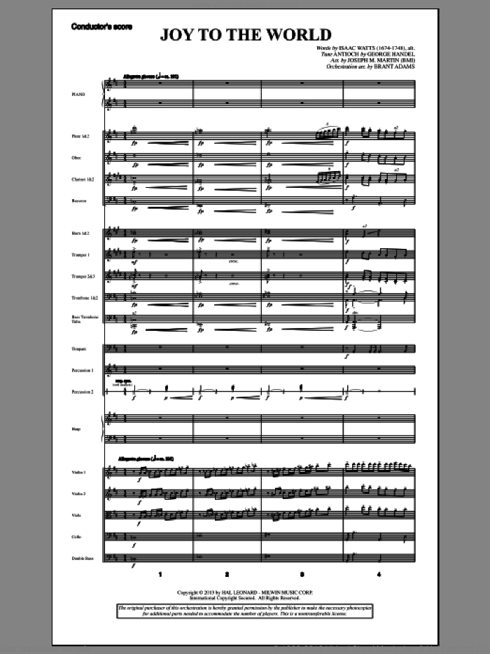 Joy To The World (from A Symphony Of Carols) (COMPLETE) sheet music for orchestra/band by George Frideric Handel and Joseph M. Martin, intermediate skill level