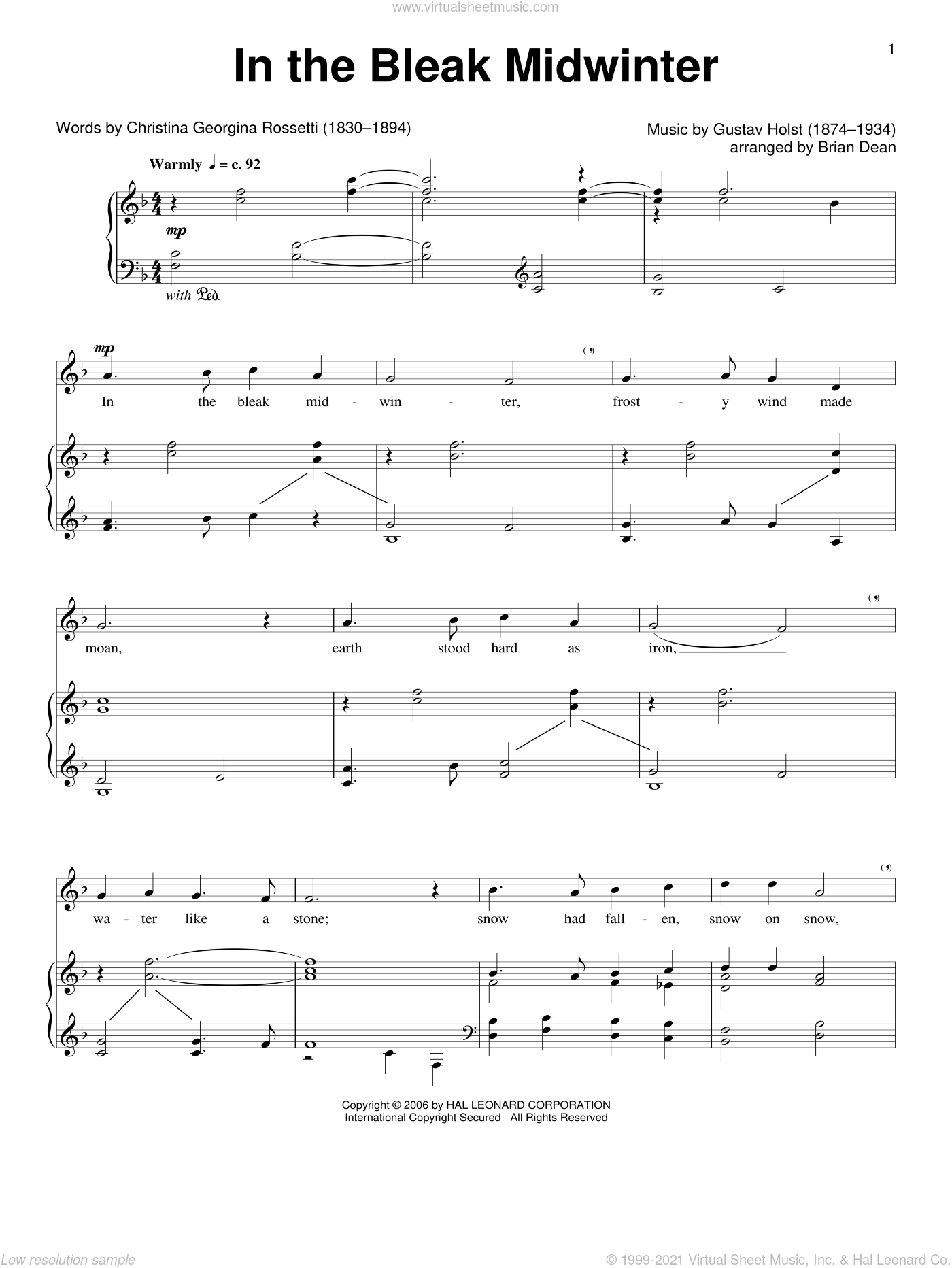 In The Bleak Midwinter sheet music for voice and piano by Gustav Holst and Christina Rossetti, classical score, intermediate skill level
