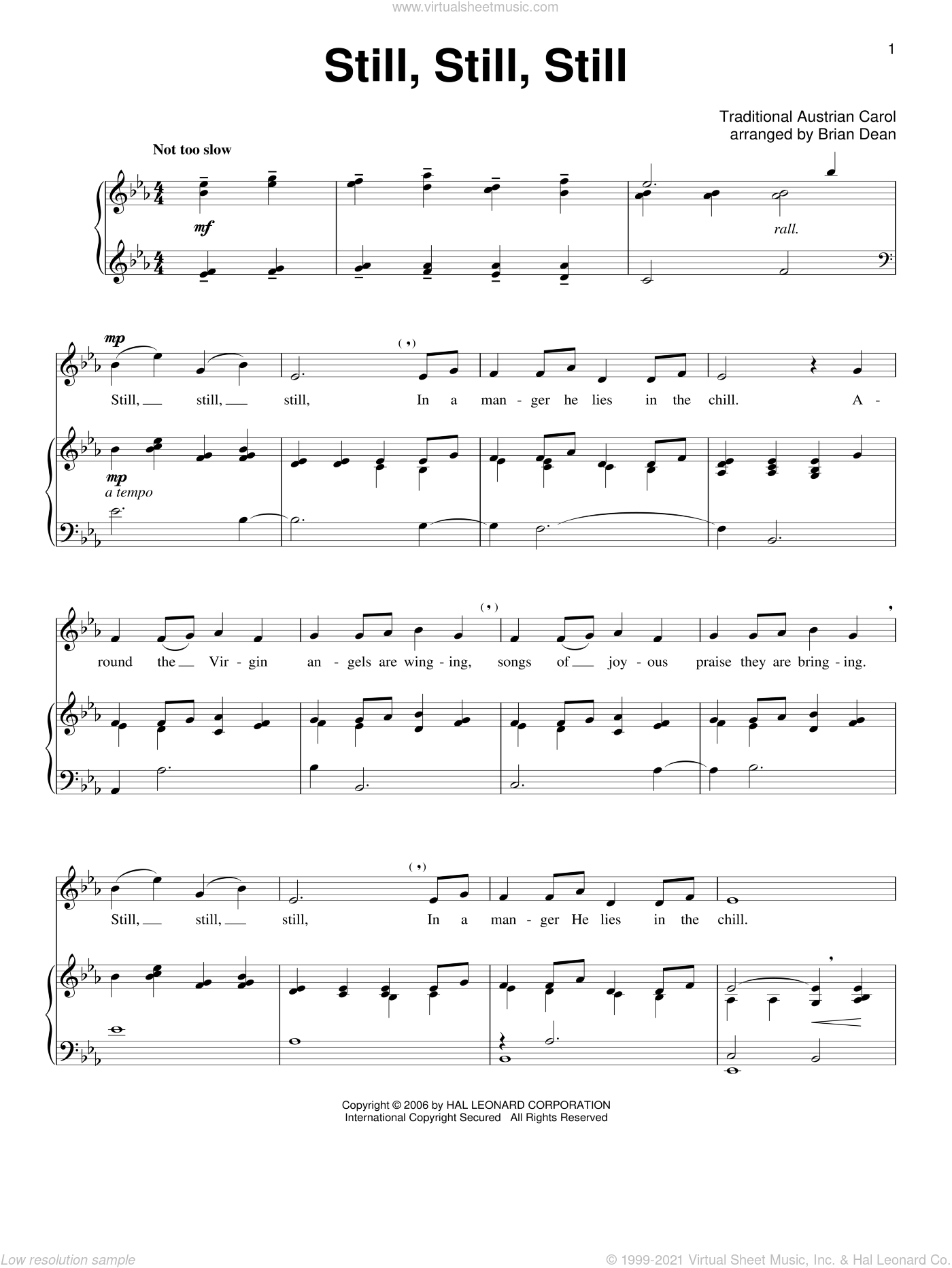 Still, Still, Still sheet music for voice and piano  and Salzburg Melody, intermediate