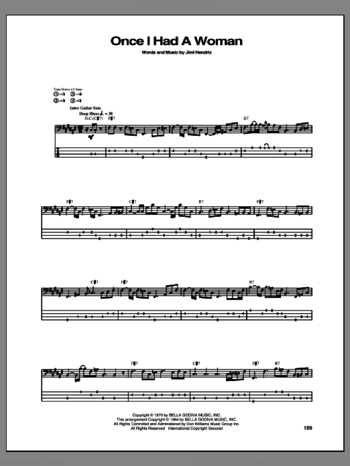 Once I Had A Woman sheet music for bass (tablature) (bass guitar) by Jimi Hendrix, intermediate bass (tablature) (bass guitar). Score Image Preview.