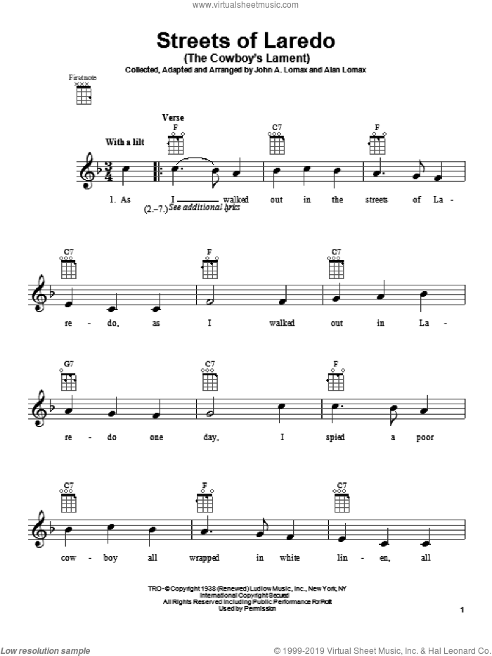 Streets Of Laredo (The Cowboy's Lament) sheet music for ukulele by John A. Lomax. Score Image Preview.