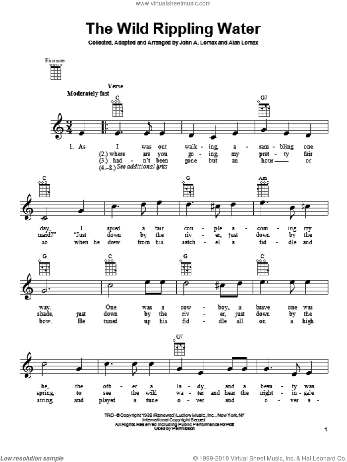 The Wild Rippling Water sheet music for ukulele by John A. Lomax. Score Image Preview.