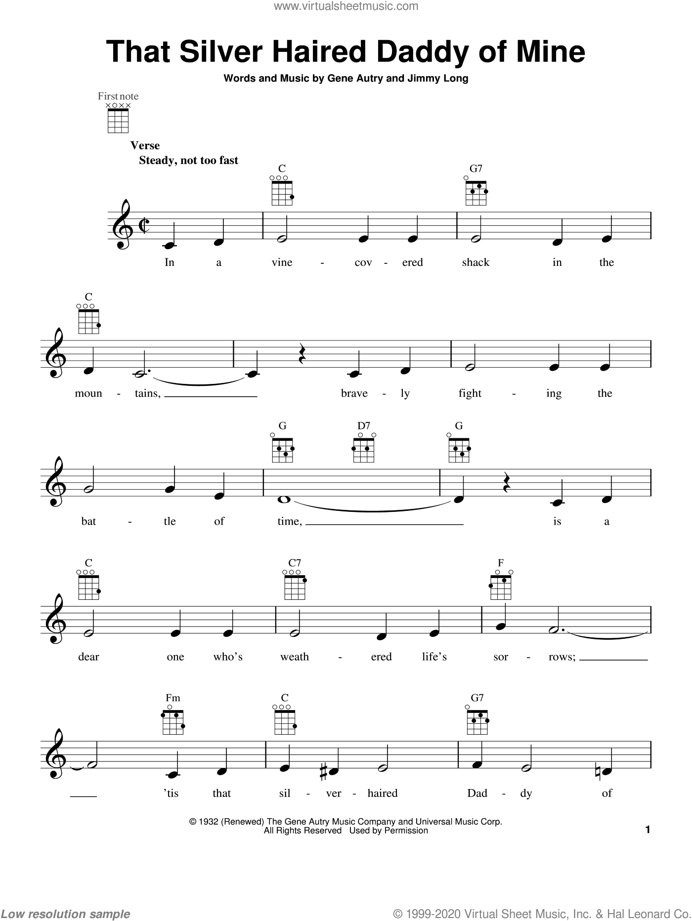That Silver Haired Daddy Of Mine sheet music for ukulele by Gene Autry and Jimmy Long and Gene Autry, intermediate. Score Image Preview.