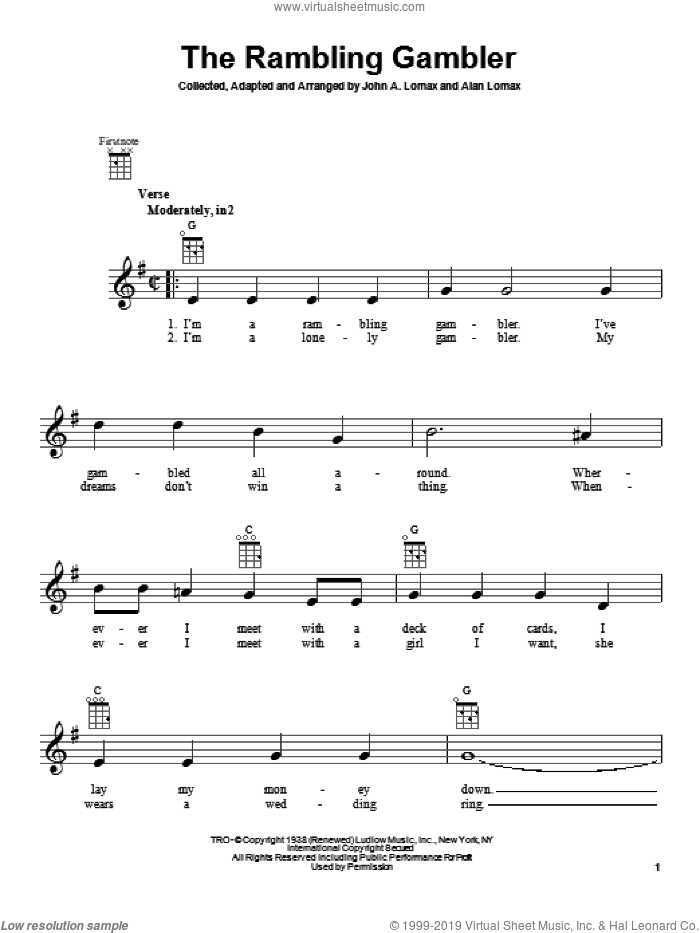 The Rambling Gambler sheet music for ukulele by John A. Lomax. Score Image Preview.