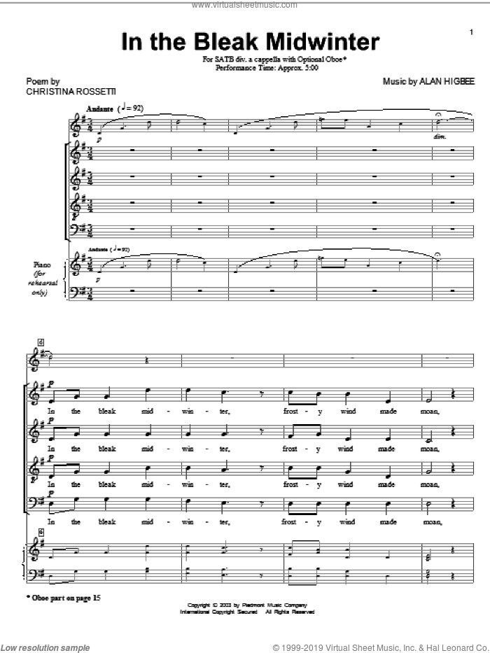 In The Bleak Midwinter sheet music for choir (SATB: soprano, alto, tenor, bass) by Gustav Holst, Christina Rossetti and Alan Higbee, intermediate skill level