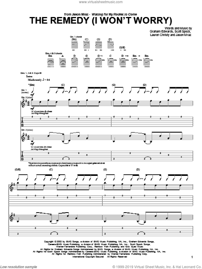 The Remedy (I Won't Worry) sheet music for guitar (tablature) by Jason Mraz, intermediate guitar (tablature). Score Image Preview.
