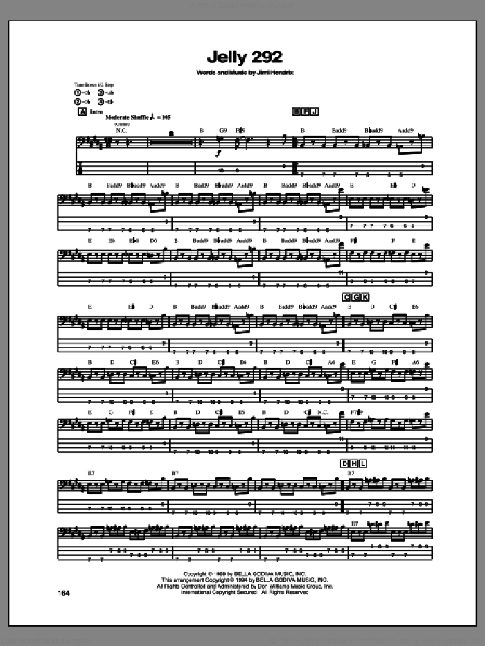 Jelly 292 sheet music for bass (tablature) (bass guitar) by Jimi Hendrix, intermediate. Score Image Preview.