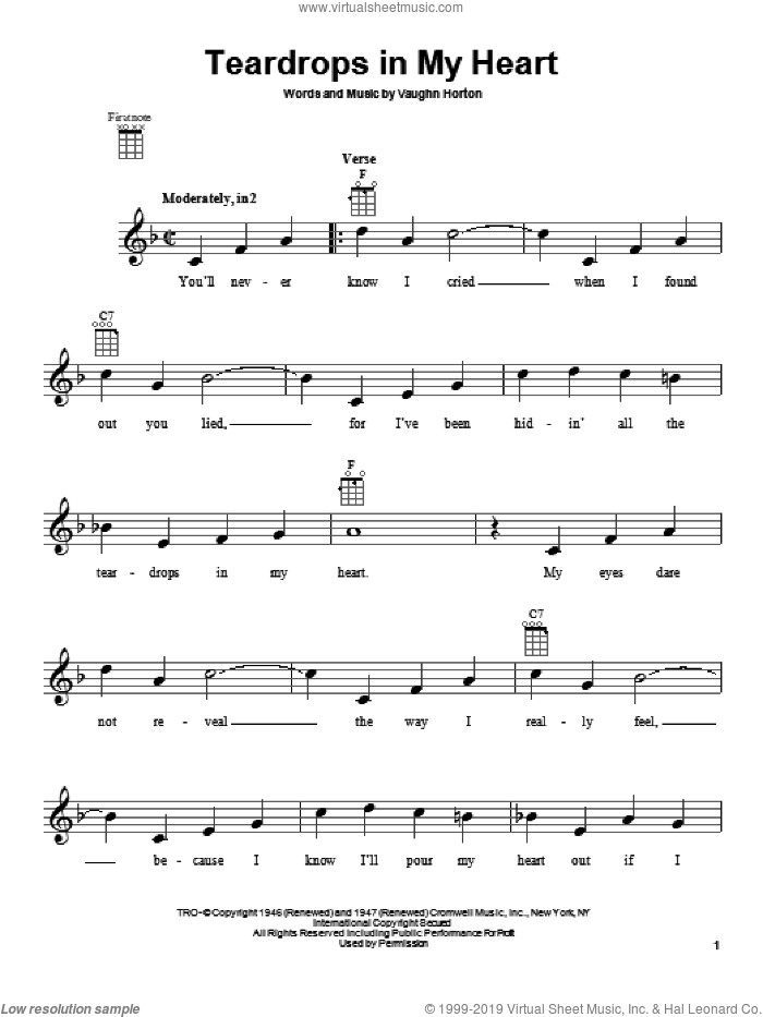 Teardrops In My Heart sheet music for ukulele by Rex Allen, Jr. and Vaughn Horton, intermediate skill level