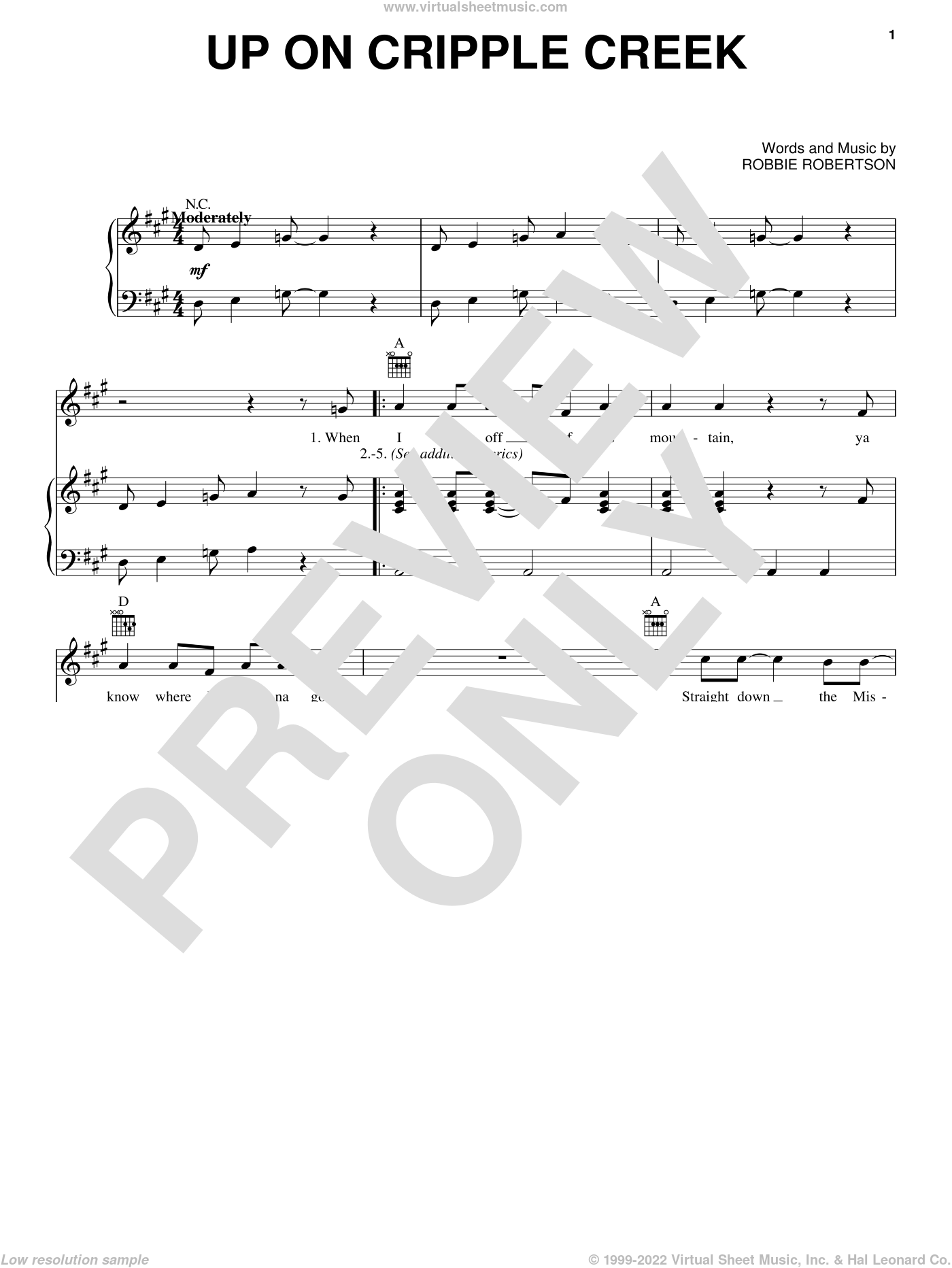 Up On Cripple Creek sheet music for voice, piano or guitar by The Band and Robbie Robertson, intermediate skill level