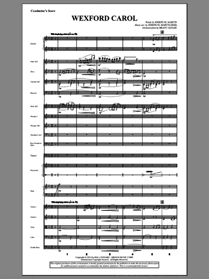 Wexford Carol (from A Symphony Of Carols) (COMPLETE) sheet music for orchestra/band by Joseph Martin, Joseph M. Martin and Miscellaneous, intermediate skill level