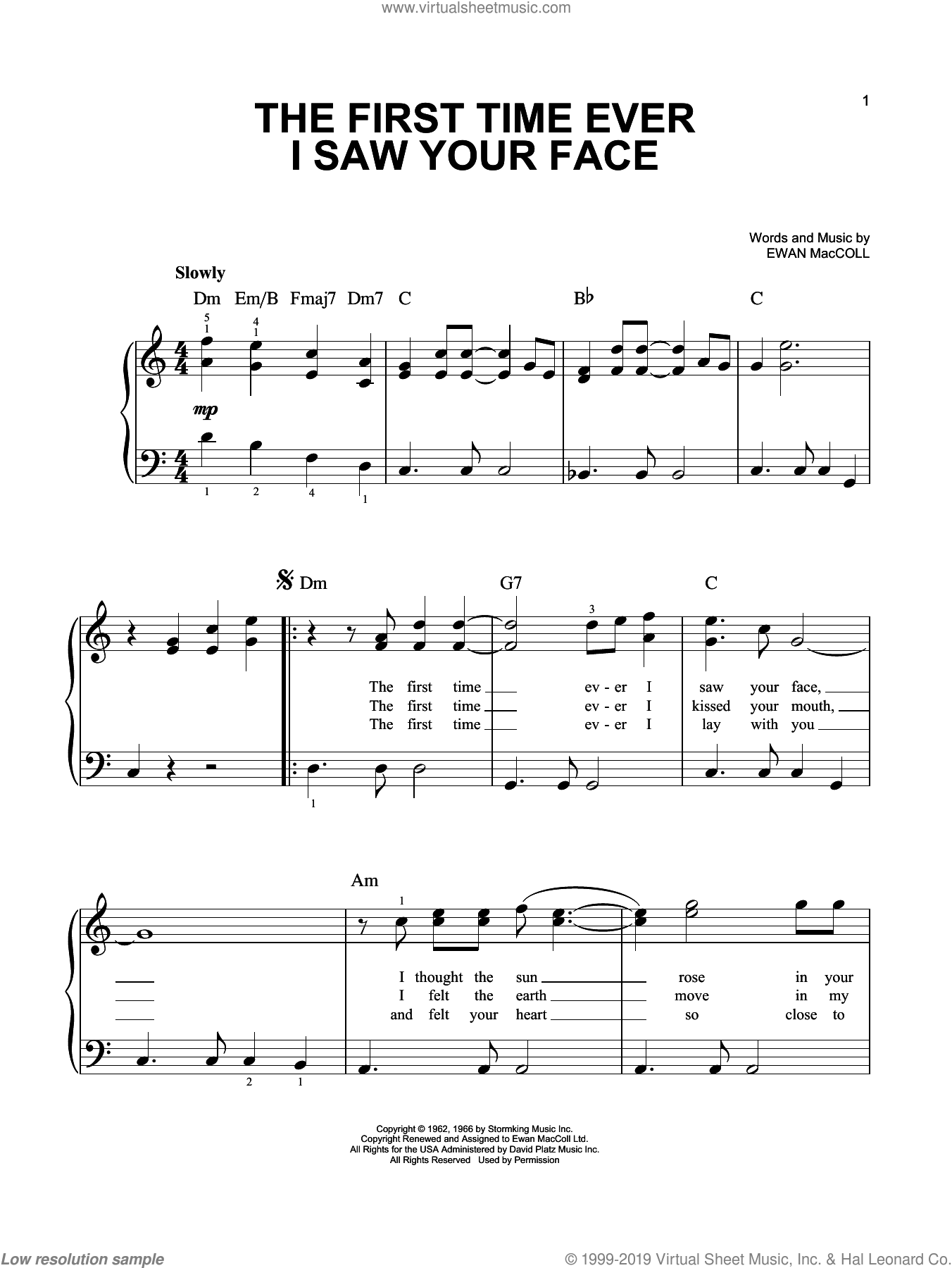 The First Time Ever I Saw Your Face sheet music for piano solo by Roberta Flack, Johnny Cash and Ewan MacColl, wedding score, easy skill level