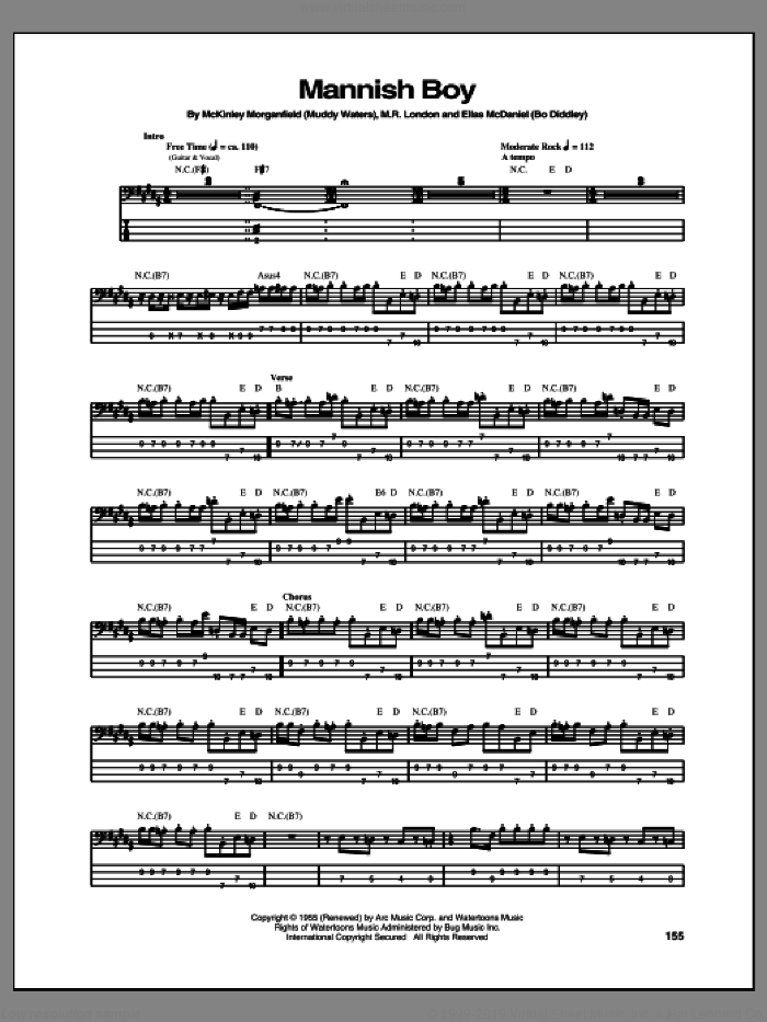 Mannish Boy sheet music for bass (tablature) (bass guitar) by Jimi Hendrix. Score Image Preview.