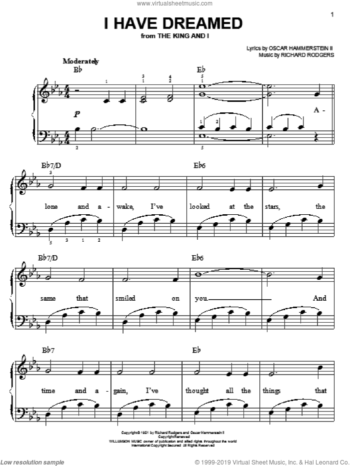 I Have Dreamed, (easy) sheet music for piano solo by Rodgers & Hammerstein, The King And I (Musical), Oscar II Hammerstein and Richard Rodgers, easy skill level