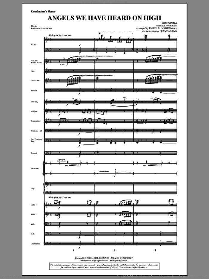 Angels We Have Heard On High (from A Symphony Of Carols) (COMPLETE) sheet music for orchestra/band by Joseph Martin, Joseph M. Martin and Miscellaneous, intermediate