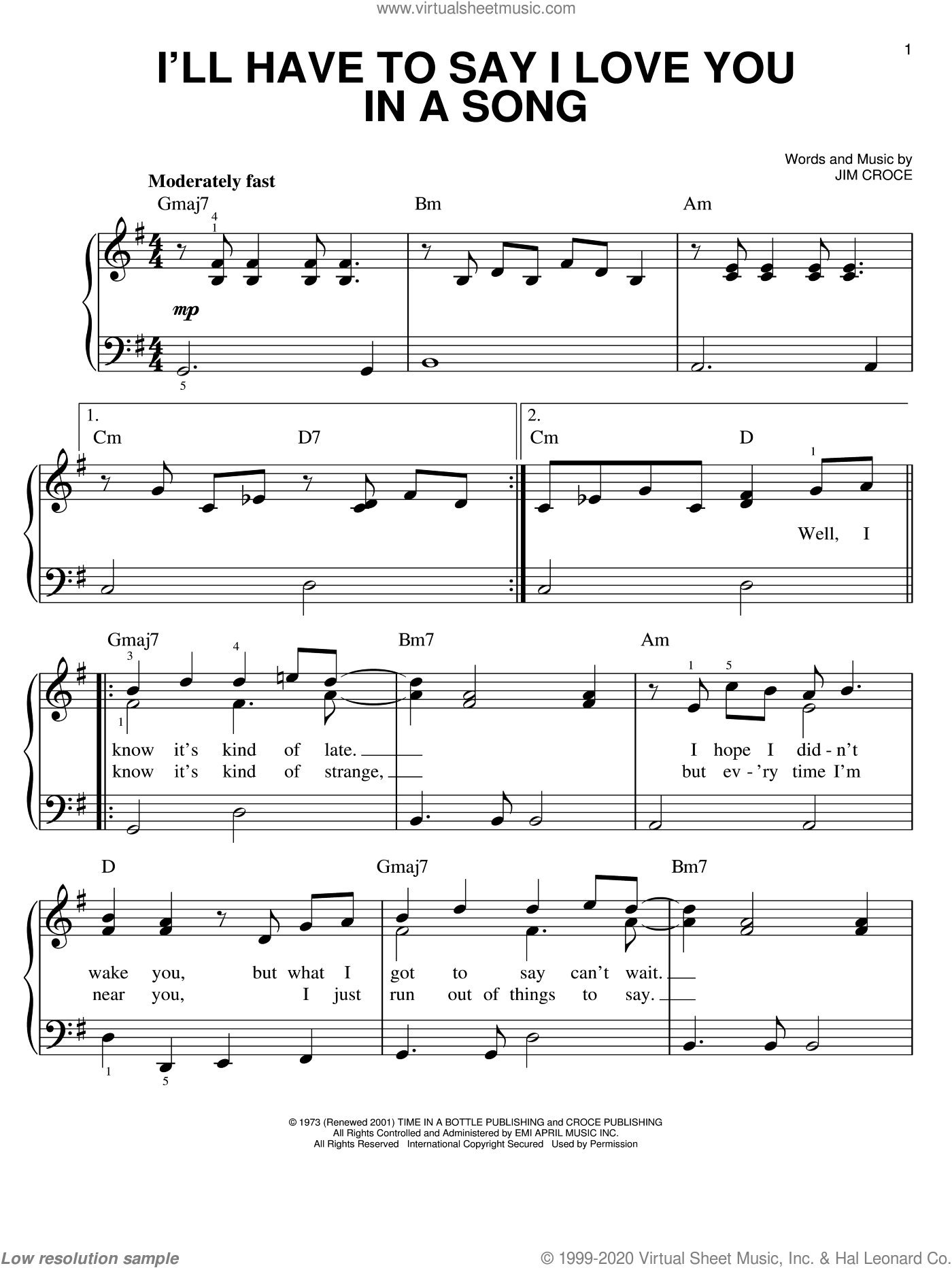 I'll Have To Say I Love You In A Song sheet music for piano solo by Jim Croce, wedding score, easy skill level