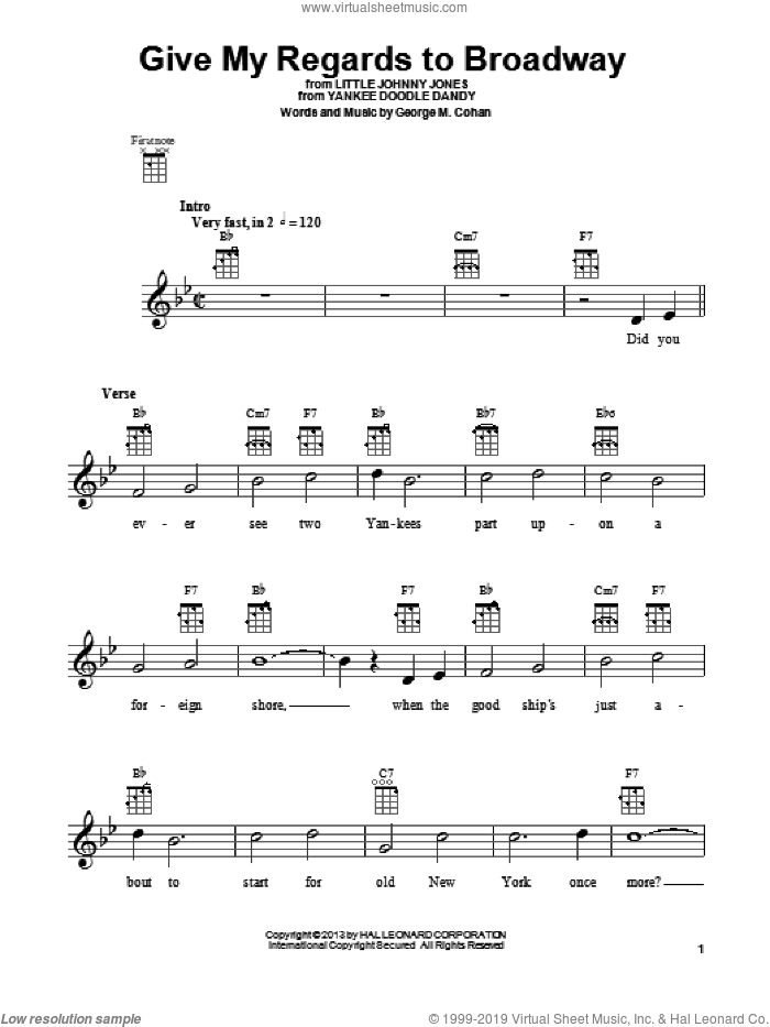 Give My Regards To Broadway sheet music for ukulele by George Cohan