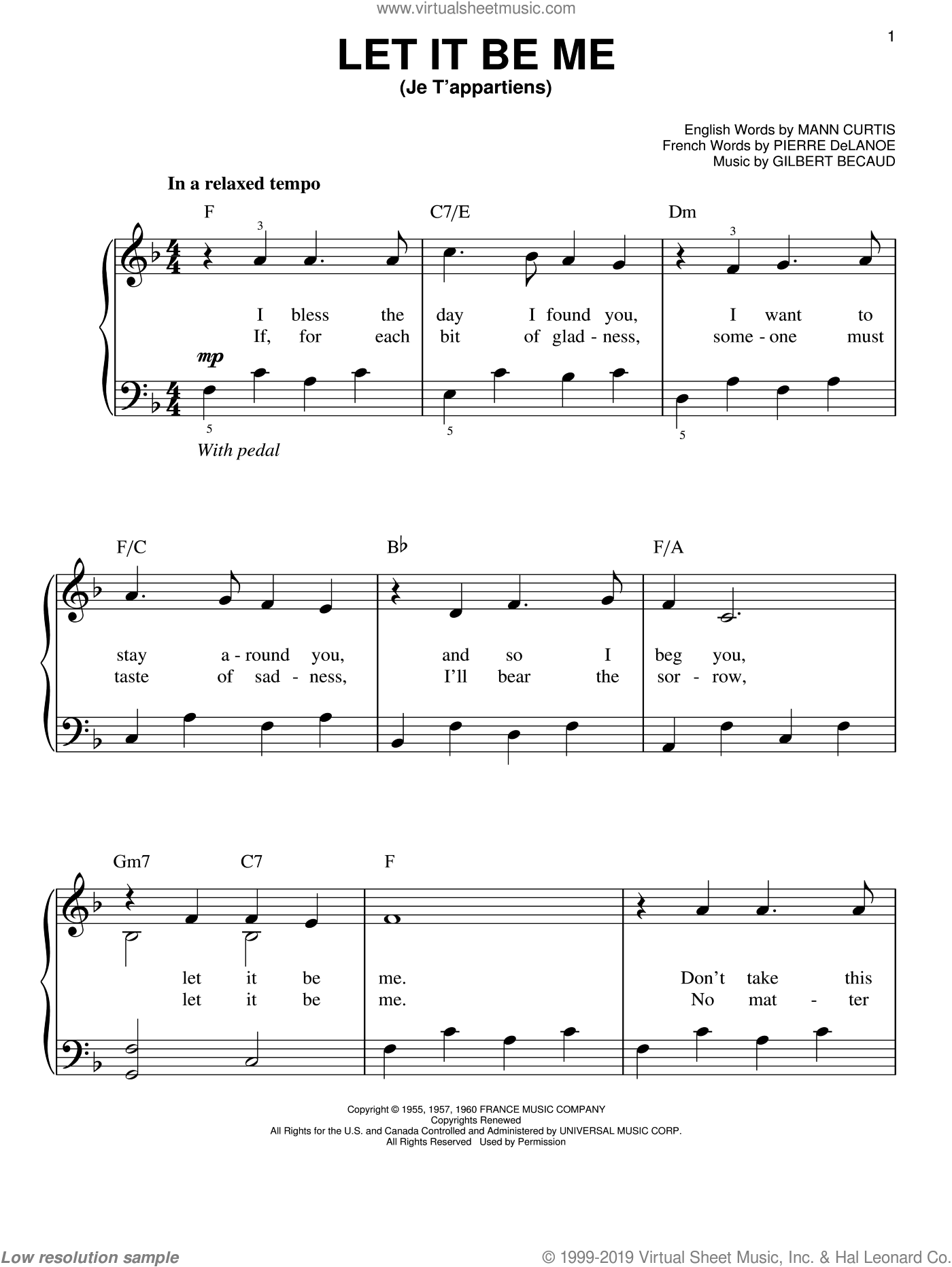 Let It Be Me (Je T'appartiens) sheet music for piano solo by Elvis Presley, Gilbert Becaud, Mann Curtis and Pierre Delanoe, wedding score, easy skill level