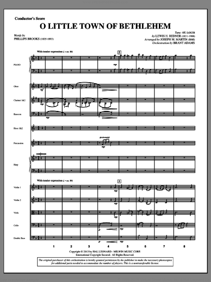 O Little Town Of Bethlehem (from A Symphony Of Carols) sheet music for orchestra/band (score) by Joseph M. Martin