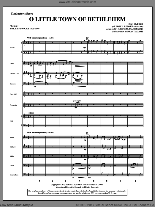 O Little Town Of Bethlehem (from A Symphony Of Carols) (COMPLETE) sheet music for orchestra by Joseph M. Martin