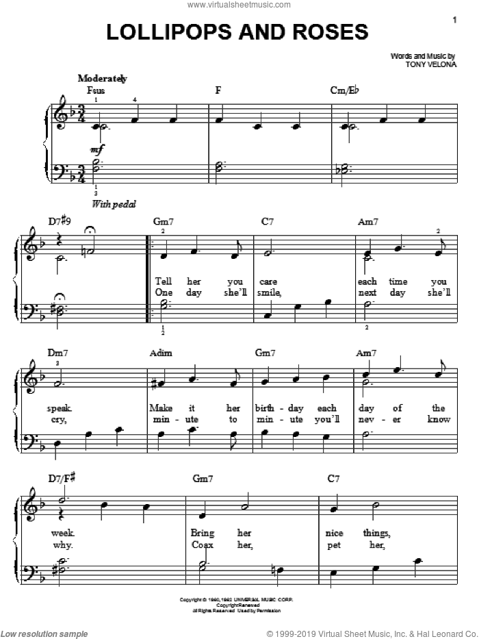 Lollipops And Roses sheet music for piano solo by Jack Jones, Herb Alpert, Herb Alpert & The Tijuana Brass and Tony Velona, easy skill level