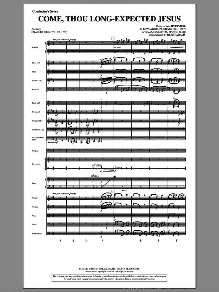 Come, Thou Long-expected Jesus (from A Symphony Of Carols) (COMPLETE) sheet music for orchestra/band by Joseph Martin and Joseph M. Martin, intermediate skill level