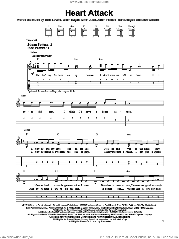 Heart Attack sheet music for guitar solo (easy tablature) by Demi Lovato. Score Image Preview.