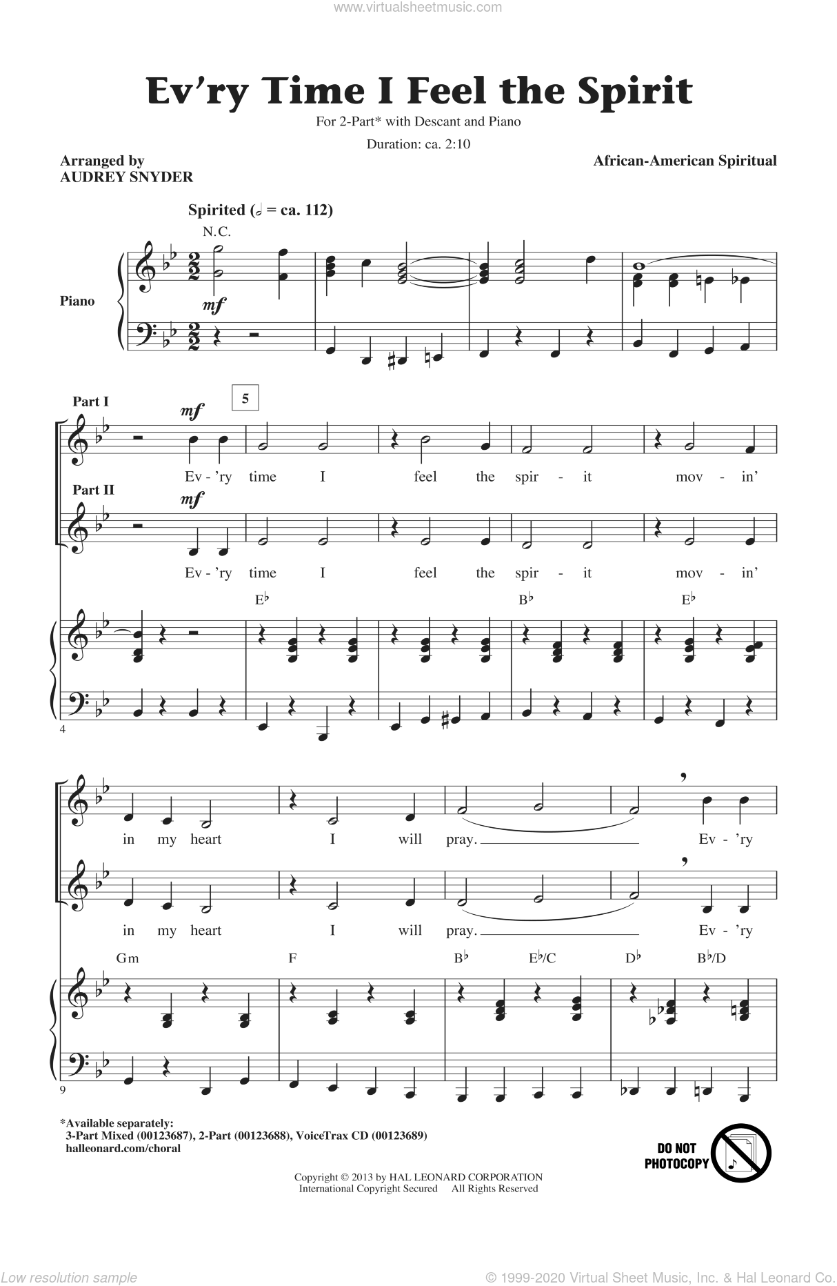 Every Time I Feel The Spirit sheet music for choir (duets) by Audrey Snyder and Miscellaneous. Score Image Preview.