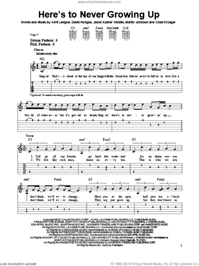 Here's To Never Growing Up sheet music for guitar solo (easy tablature) by Avril Lavigne, easy guitar (easy tablature)