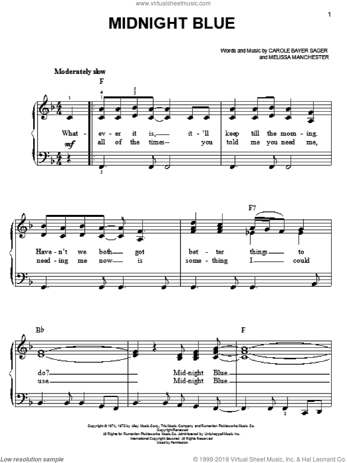 Midnight Blue sheet music for piano solo (chords) by Carole Bayer Sager