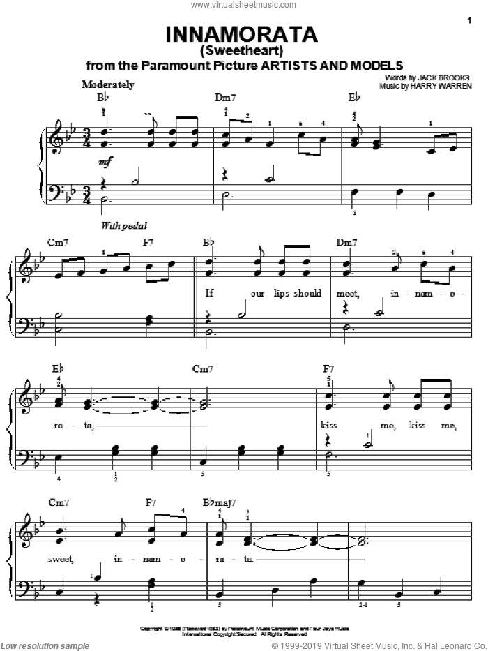 Innamorata (Sweetheart) sheet music for piano solo by Harry Warren and Jack Brooks, easy. Score Image Preview.