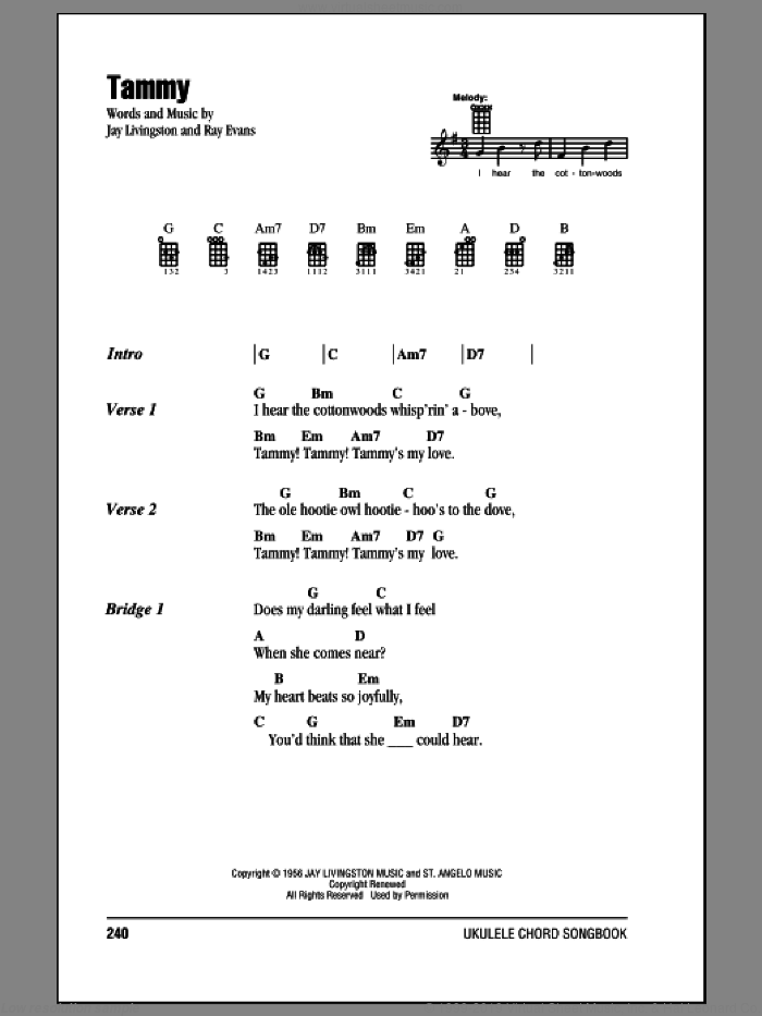 Tammy sheet music for ukulele (chords) by The Ames Brothers. Score Image Preview.