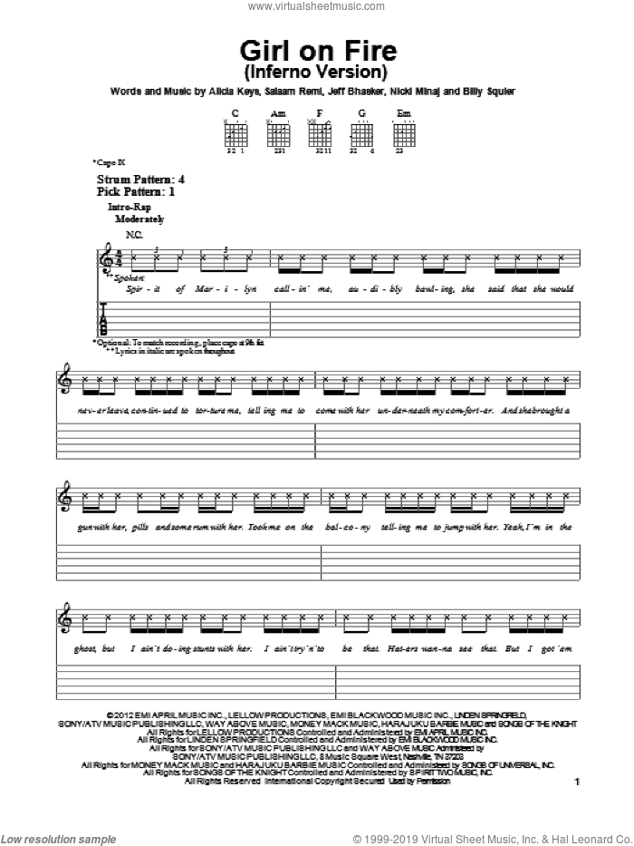 Girl On Fire (Inferno Version) sheet music for guitar solo (easy tablature) by Alicia Keys
