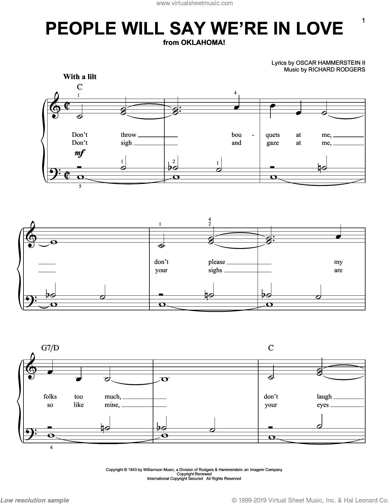 People Will Say We're In Love sheet music for piano solo by Richard Rodgers, Rodgers & Hammerstein and Oscar II Hammerstein. Score Image Preview.