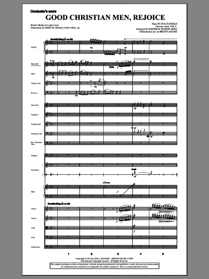 Good Christian Men, Rejoice (from A Symphony Of Carols) (COMPLETE) sheet music for orchestra/band by Joseph Martin and Joseph M. Martin, Christmas carol score, intermediate orchestra/band. Score Image Preview.