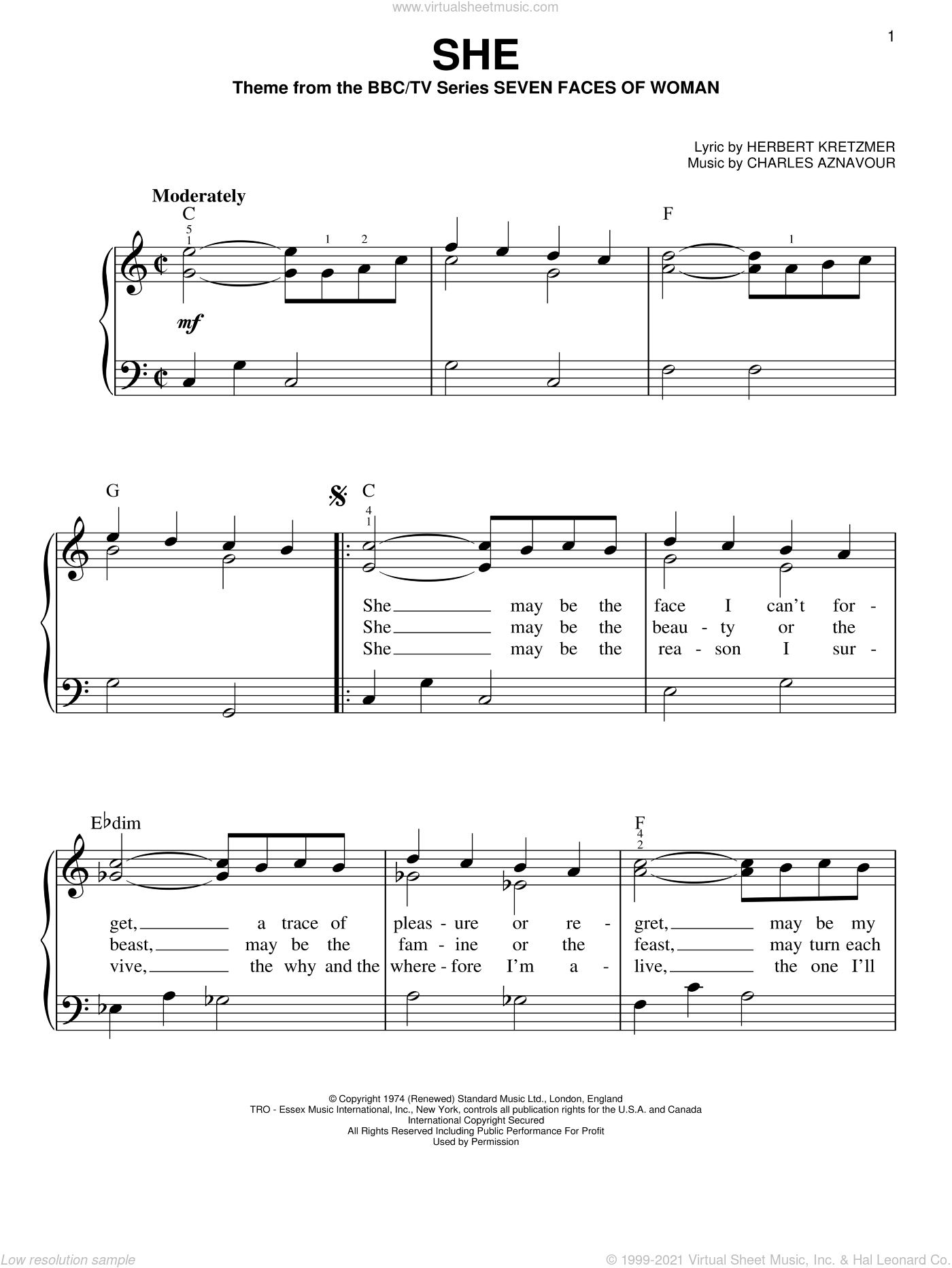 She sheet music for piano solo by Herbert Kretzmer and Charles Aznavour, easy piano. Score Image Preview.