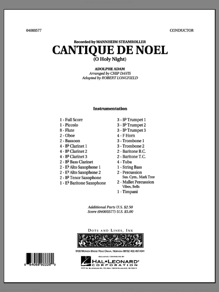 Cantique de Noel (O Holy Night) (COMPLETE) sheet music for concert band by Robert Longfield, Chip Davis and Mannheim Steamroller, intermediate skill level