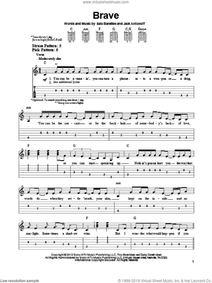 Brave sheet music for guitar solo (easy tablature) by Sara Bareilles, easy guitar (easy tablature)