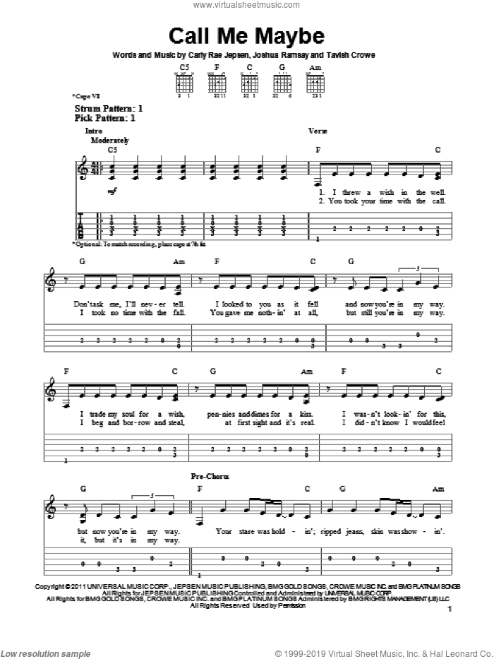 Call Me Maybe sheet music for guitar solo (easy tablature) by Carly Rae Jepsen