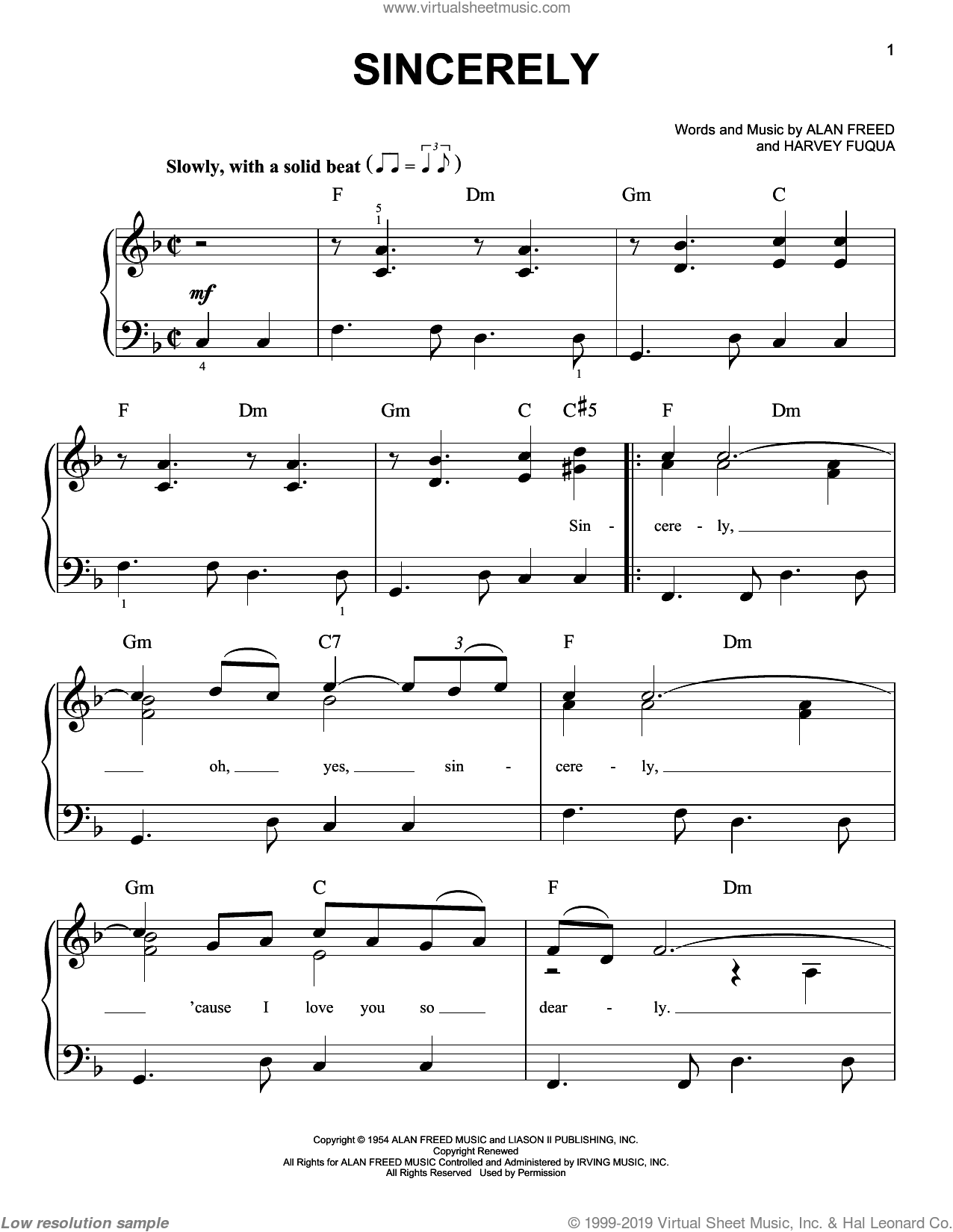Sincerely sheet music for piano solo by McGuire Sisters, Alan Freed and Harvey Fuqua, easy skill level
